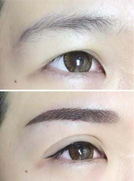 妝感眼線 前後比較