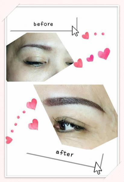 紋繡眉毛 這個客人的眉毛較稀疏,我先做根眉再加上韓式霧眉,讓她的眉毛看起來根根分明又自然⋯⋯⋯客人很喜歡ㄛ⋯開薰~~~